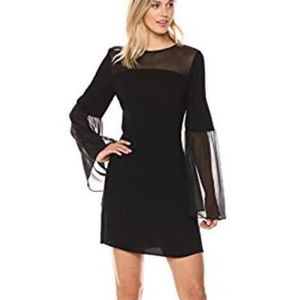 BCBG Finley Woven Bell Dress With Sheer Sleeves.